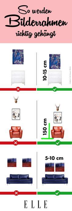 Das Interior, die Raumgröße oder die Sonneneinstrahlung: Gleich mehrere Faktoren haben Einfluss auf die Wirkung einer Bilderwand. Vor allem aber die Einrichtung vor der Wand muss beim Aufhängen von Bildern beachtet werden.