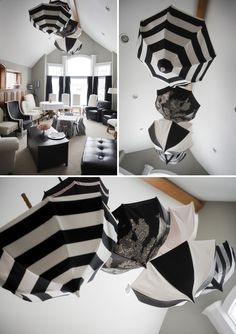 French Inspired Bebe Shower - Black and White - love the umbrellas!