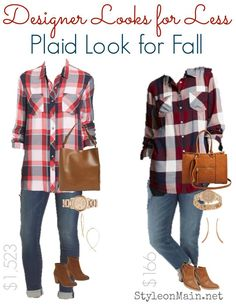 Casual Fall Plaid Style in High End and Budget versions. Can you tell the difference between the high end and budget outfit?