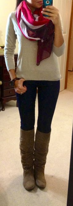 neutral sweater and boots + big colorful scarf