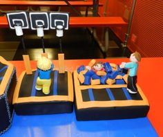 Sky Zone trampoline cake - This is the basketball and foam pit area. I like the way the foam pit turned out!