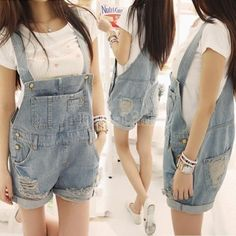 2014 Women's Fashion Washed Blue Denim Jeans Female Hole Spaghetti Strap Rompers Pants