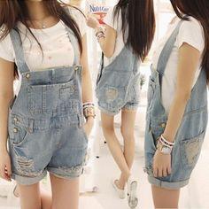2014 Women's Fashion Washed Blue Denim Jeans Female Hole Spaghetti Strap Rompers Pants