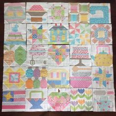 """Here are my Farm Girl blocks all laid out . I'm really going to miss """"farm girling"""". I can't remember ever having so much fun making quilt blocks ✂️✂️. Maybe I should do just one more little row . #farmgirlvintage #vintagefarmgirl #quilt"""