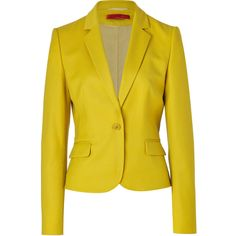 HUGO Bright Yellow Wool Stretch Afiraly One Button Jacket found on Polyvore