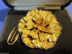 Vintage Danecraft 12K Gold Filled Ruby Colored Rhinestones Flower Brooch #Danecraft