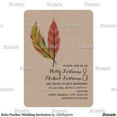 Boho Feather Wedding Invitation