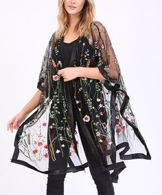 Loving this Black Floral Embroidered Sheer Kimono - Plus Too on #zulily! #zulilyfinds