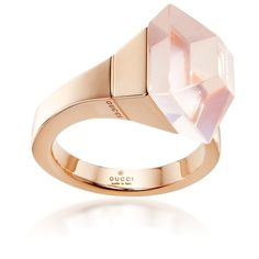 ♔ Gucci Gold & Rose Quartz French Horn Cocktail Ring