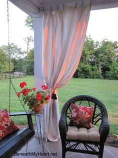 How to Make And Hang Outdoor Curtain Panels...using painters drop cloth