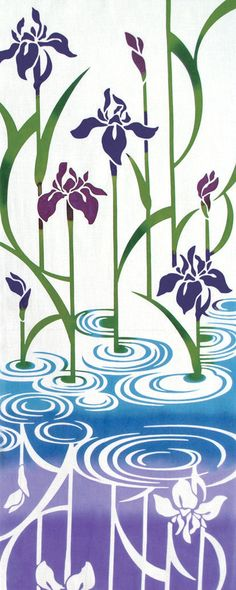 Japanese Tenugui Towel Cotton Fabric, Hand Dyed Fabric, Purple Iris, Blue Water…