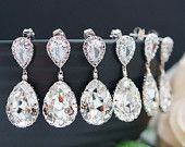 15% OFF SET of 10 Wedding Bridal Earrings Bridesmaid Earrings Dangle Earrings Clear White Swarovski Crystal Tear drops