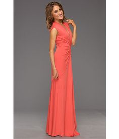 Nicole Miller V-Neck Ruched Gown...hmm, coral or black for a summer cocktail hour wedding??
