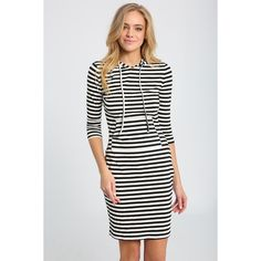 Ally Fashion Stripe Hooded Bodycon Dress (375 MXN) ❤ liked on Polyvore featuring dresses, stripe, body conscious dress, white dress, stripe bodycon dress, white striped dress and stripe dresses