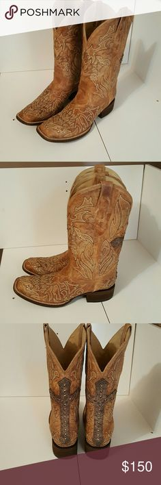 Corral Vintage womens size 9 brand new Cowboy Boot Tan Cowboy boots.  Got them in Mexico, got home, and they didnt fit very well. It is a size 9, but it measures 10 inches. Maybe to give up the room in the toe. Has crosses on the back and crystal like studds decirating the boot. Got in Playa Del Carmen. Im bummed. I paid 225 for them, asking 150. Firm for now.boot is alot lighter in color. Can send more pics Shoes Heeled Boots