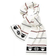 Hvidt halstørklæde | Knowledge Cotton Apparel | Knit Scarf With Owl
