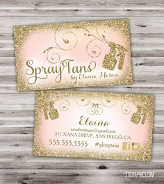 Glitter Glam Spray Tan Business Cards, glitzy, glamour, elegant, chic, stylish spray tanning business cards, $25 DIGITAL FILE ALSO AVAILABLE FOR, jill@311graphics.com