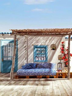 In the Mediterranean regions patios, porches, roof terraces and other outdoor areas are the favorite area of the house for breakfast or dinners, family Outdoor Areas, Outdoor Rooms, Outdoor Living, Outdoor Decor, Outdoor Bedroom, Outdoor Balcony, Outdoor Lounge, Terrasse Design, Interior And Exterior