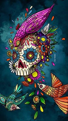 A total Collection of Beautiful Arts works, Paints, Art, Anime and Wallpapers. Day Of The Dead Artwork, Day Of The Dead Skull, Mexican Skulls, Mexican Art, Lettrage Chicano, Chicano Tattoos, Art Tattoos, Sugar Skull Artwork, Sugar Skulls