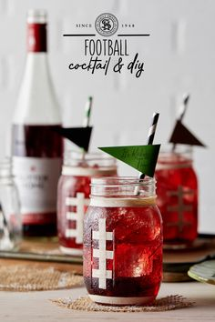 Our Sutter Home Signature Football Cocktails & DIY Mason Jars are The Perfect Play on Game Day Wine Tasting Outfit, Wine Tasting Party, Wine Glass Sayings, Wine Quotes, Wine Bottle Art, Wine Bottle Crafts, Wine Slushie Recipe, Sutter Home, Wine Cork Crafts