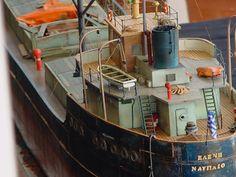 Scale model cargo ship.