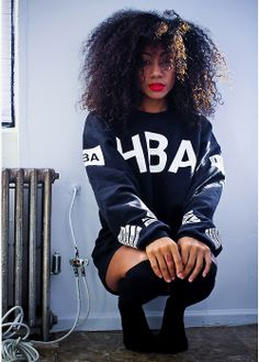 HBA Hood By Air USA Clothing Jumper Sweater Curly Hair Black Blonde Strip Streak Black Beauty Mixed Chicks Pretty Girl Swag Dope Urban Streetwear Fashion Style Fashionista Outfit Trend