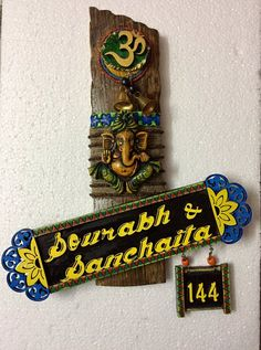 Ganesha Wooden nameplate – LoveThisStuff Wooden Name Plates, Name Plate Design, Name Plates For Home, House Name Signs, Lotus Painting, Name Boards, Name Plaques, Craft Art, Mural Art