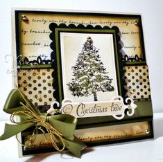 Stamps: O Christmas Tree, Bountiful Backgrounds Paper: PTI ripe avocade and true black, Flourishes Ivory cardstock Ink: Momento Tuxedo Black, PTI ripe avocado, ranger antique linen, vintage photo Accessories: Fiskars Border Punch, Spellbinders Petite rectangle nestabilities, fancy labels, offray sheer black and olive, mini bowdabra, gold cording, SU texturz plates, gold pearls