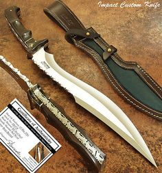 IMPACT CUTLERY RARE CUSTOM D2 COMBAT KHUKRI BOWIE KNIFE FULL TANG BURL WOOD in Collectibles, Knives, Swords & Blades, Collectible Fixed Blade Knives   eBay