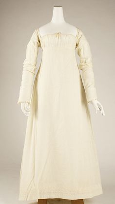 Dress Date: 1804–14 Culture: American Medium: cotton Dimensions: Length at CB: 46 in. (116.8 cm) Length at CF: 46 in. (116.8 cm) Width at Bo...