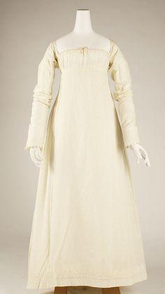 Dress Date: 1804–14 Culture: American Medium: cotton Dimensions: Length at CB: 46 in. (116.8 cm) Length at CF: 46 in. (116.8 cm) Width at Bo...