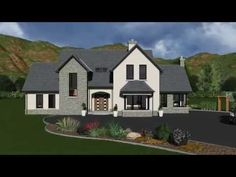 A modified and mirrored version or our design Modern Brick House, Modern Bungalow Exterior, Bungalow House Design, Dream House Exterior, Modern House Plans, Best House Plans, Dream House Plans, Two Story House Plans, House Designs Ireland