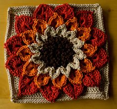 Transcendent Crochet a Solid Granny Square Ideas. Inconceivable Crochet a Solid Granny Square Ideas. Crochet Flower Squares, Crochet Sunflower, Granny Square Crochet Pattern, Crochet Blocks, Crochet Flowers, Crochet Granny, Freeform Crochet, Crochet Motif, Crochet Designs