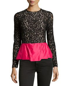 Floral Lace Peplum Top, Black  by Michael Kors at Neiman Marcus.