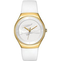 Lacoste Watch Women's Valencia White Leather Strap 38mm 2000763 (195 CAD) ❤ liked on Polyvore featuring jewelry, watches, lacoste watches, rock jewelry, lacoste and crocodile jewelry