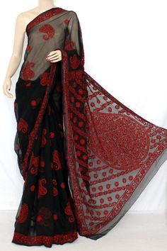 Black-Red Designer Hand Embroidered Lucknowi Chikankari Saree (With Blouse - Georgette) 12829
