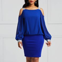 Ericdress Bodycon Cold Shoulder Lantern Sleeves Women's Dress #Ericdress Reviews,#Ericdress Fashion Reviews,#Ericdress