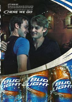 Gay Advertisement | An advertisement for Bud Light depicting two men getting their flirt on over some brew skis, which was featured in Out magazine