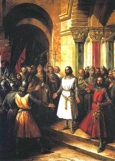 Godofredo de Bouillon é escolhido para rei de Jerusalém. Federico de Madrazo y Kuntz (1815 – 1894), 1838.