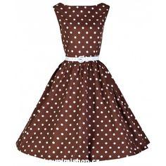 Retro šaty ve stylu 50. let. nádherné šaty v čokoládově hnědé s nadčasovým puntíkem a bílým páskem ve stylu pretty woman.