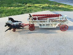 Vintage cast iron horse drawn fire ladder wagon with 3 horses and 3 fire ladders, cast iron toy fire wagon by NewLife4OldTreasures on Etsy