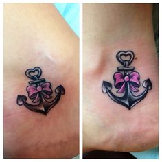 Anchor tattoo with bow color purple for standing against domestic abuse