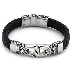 Antique Braided Black Leather Men's Bracelet Stainless Steel *** More info could be found at the image url.