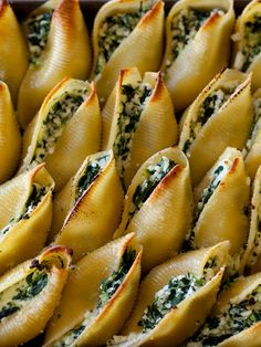 Cooked large pasta shells, stuffed with whatever you want then baked.