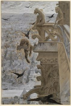 Luc-Olivier Merson Nôtre-Dame de Paris, about Pen and black ink, brush and gray wash, black and white gouache, and graphite Gothic Gargoyles, Notre Dame Gargoyles, Dragons, White Gouache, Cleveland Museum Of Art, Art Database, Gothic Architecture, Tour Eiffel, Kirchen