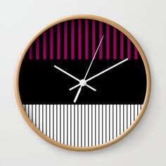 Colour Pop Stripes Wall Clock by laec Pink Wall Clocks, Colour Pop, Color, Striped Walls, Stripes, Creative, Stripe Walls, Colour, Stripe Accent Walls