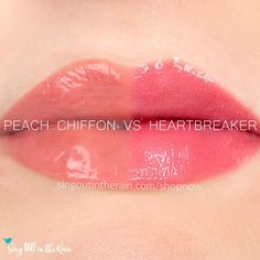 Compare Peach Chiffon vs. Heartbreaker LipSense using this photo.  Peach Chiffon is part of the Posh Pastels Collection by SeneGence - for your perfect Spring lips.