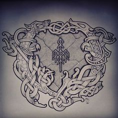 ✿ Tattoos ✿ Celtic ✿ Norse ✿ A tribute design to from earlier this year. I posted this when it was new, but in quite bad quality.so in a way to celebrate… Pagan Tattoo, Norse Tattoo, Celtic Tattoos, Viking Tattoos, 3d Tattoos, Tattoo Ink, Arm Tattoo, Viking Symbols, Viking Art