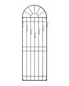 Classy Arched Metal Wall Hook Panel - This wall hook is made to look like a large window. This wall hook is made from metal and has been fixed with seven hooks. Hang your bags, coats, keys, towels or any other accessories and watch the clutter disappear. All that you need is available at one place and is neatly organized. This panel, designed in a shape of a window, will give a very unique charm appeal to any room it is placed in.