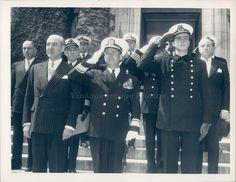 1958 Photo Business Men Uniform Buttons Medals Hats Suit Historic Vintage Smile